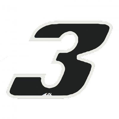 Autocollant numéro 3 noir 9 cm