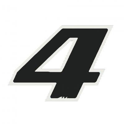 Autocollant numéro 4 noir 13 cm