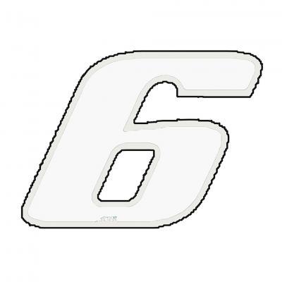 Autocollant numéro 6 blanc 13 cm