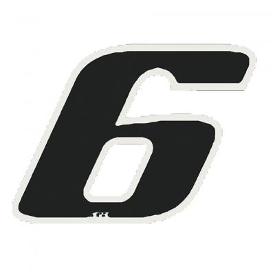 Autocollant numéro 6 noir 13 cm