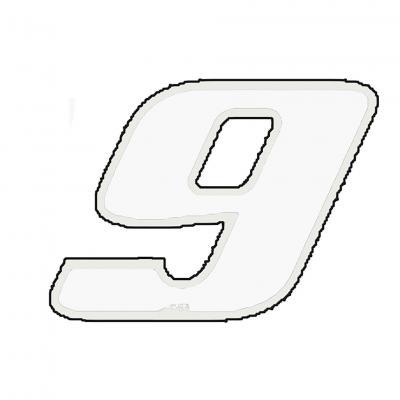 Autocollant numéro 9 blanc 9 cm