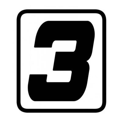 Autocollant numéro course Barracuda #3 noir