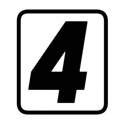 Autocollant numéro course Barracuda #4 noir