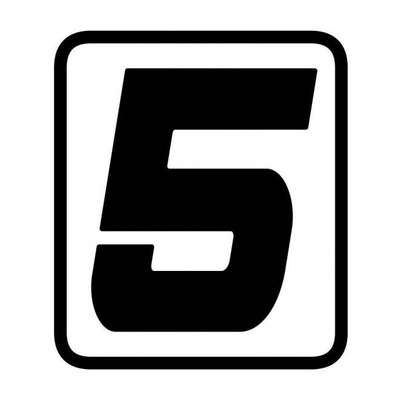 Autocollant numéro course Barracuda #5 noir