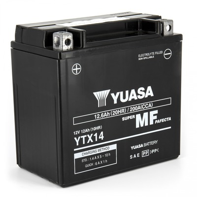 Batterie Yuasa YTX14-BS 12V 12 Ah prête à l'emploi
