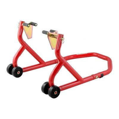 Béquille de stand avant Bike Tek rouge avec supports à rouleaux sur ressorts