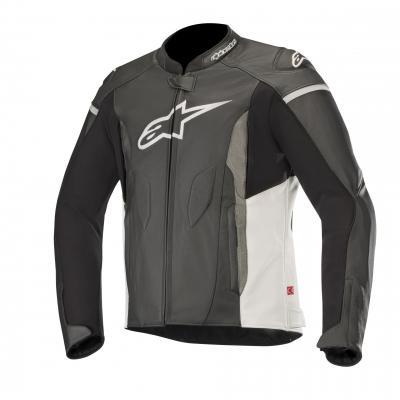 Blouson cuir Alpinestars Faster noir/blanc