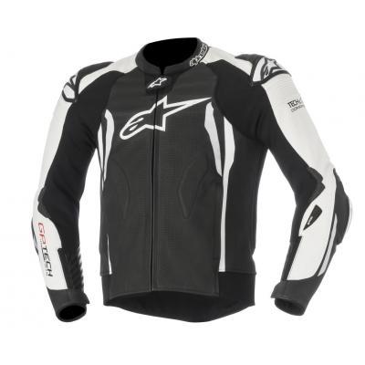 Blouson cuir Alpinestars GP Tech V2 noir/blanc