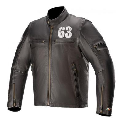 Blouson cuir Alpinestars Oscar Sixty Thee 63 noir/blanc