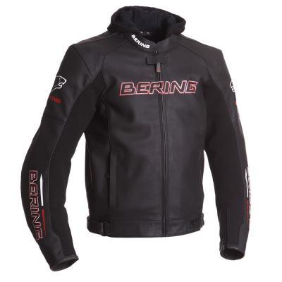 Blouson cuir Bering SWITCH Noir/Blanc/Rouge