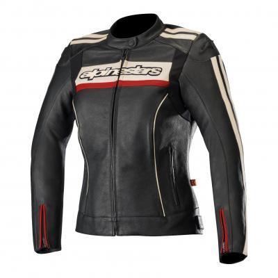 Blouson cuir femme Alpinestars Stella Dyno V2 noir/stone/rouge