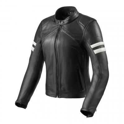 Blouson cuir femme Rev'it Meridian noir/blanc
