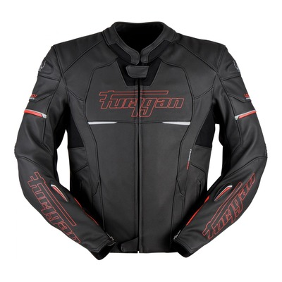 Blouson cuir Furygan Nitros noir/rouge (compatible airbag Furygan)