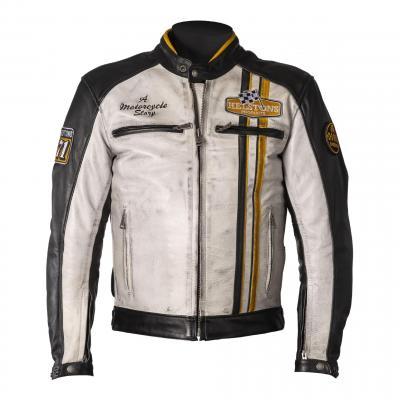 Blouson cuir Helstons Indy noir/blanc/jaune