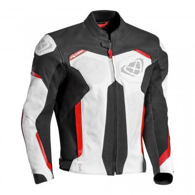 Blouson cuir Ixon Rhino noir/blanc/rouge