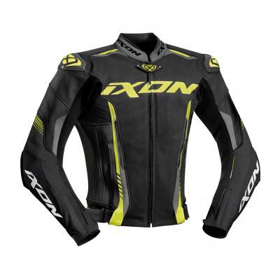 Blouson cuir Ixon Vortex 2 noir/gris/jaune vif