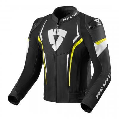 Blouson cuir Rev'it Glide noir/jaune neon