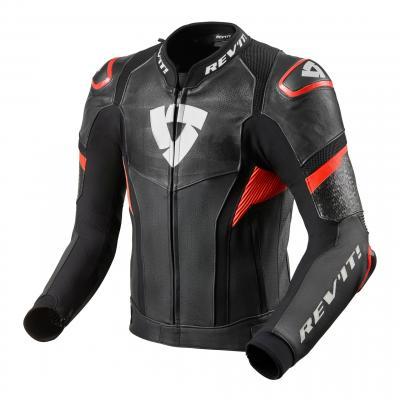 Blouson cuir Rev'it Hyperspeed Pro noir/rouge fluo
