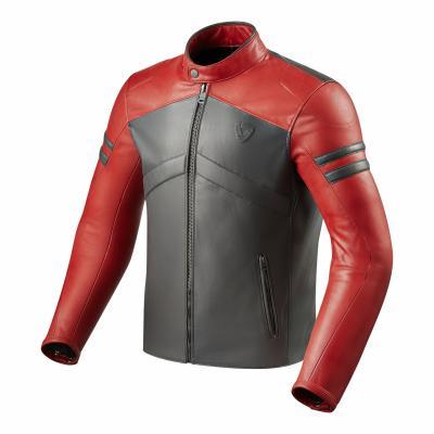 Blouson cuir Rev'it Prometheus rouge/gris clair