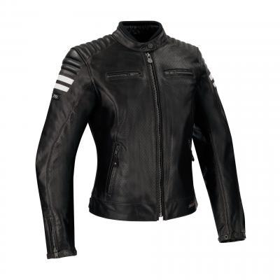 Blouson cuir Segura Lady Stripe Perfo noir/blanc