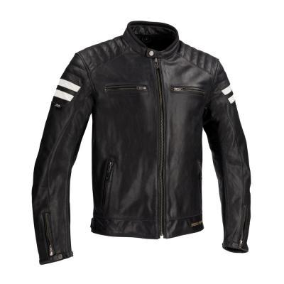 Blouson cuir Segura STRIPE noir/blanc