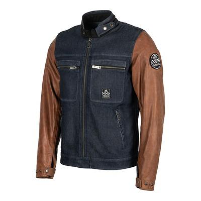 Blouson cuir/textile Helstons Winston bleu/Tan marron