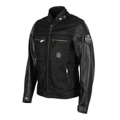 Blouson cuir/textile Helstons Winston noir/noir