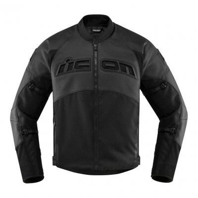 Blouson cuir/textile Icon Contra 2 Stealth perforé noir CE