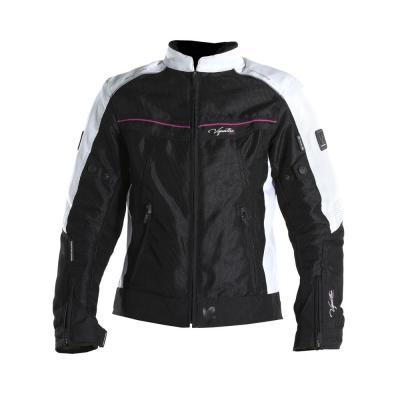 Blouson textile femme V'Quattro VE-21 noir/blanc/rose