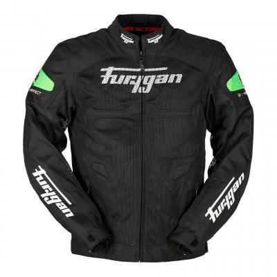 Blouson textile Furygan Atom Vented noir/vert fluo