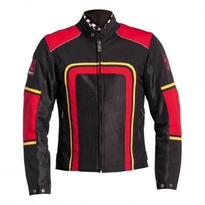 Blouson textile Helstons Austin noir/rouge/jaune