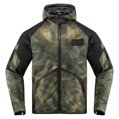 Blouson textile Icon Merc Battlescar vert/noir