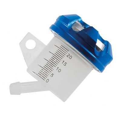 Bocal maître cylindre de frein 1Tek Tuning sortie inclinée bouchon alu bleu