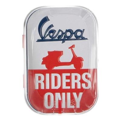 Boîte métal Vespa Riders Only bleu/blanc/rouge