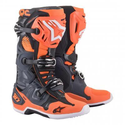 Bottes cross Alpinestars Tech 10 2021 cool gris/orange fluo