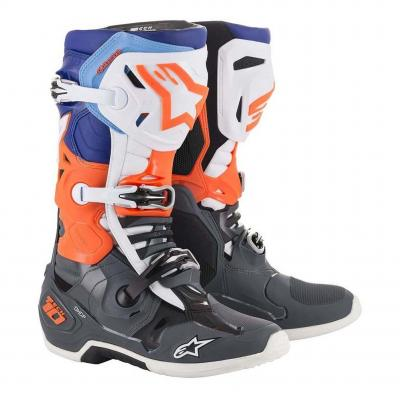 Bottes cross Alpinestars Tech 10 bleu/orange fluo/gris/blanc