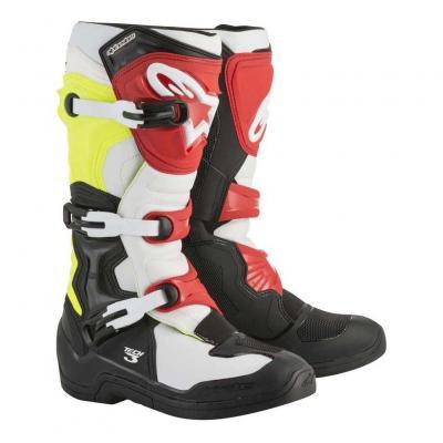 Bottes cross Alpinestars Tech 3 noir/blanc/jaune/rouge