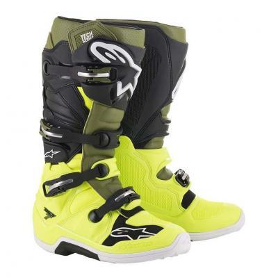 Bottes cross Alpinestars Tech 7 jaune fluo/vert militaire/noir