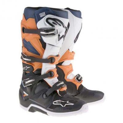 Bottes cross Alpinestars Tech 7 noir/orange/blanc/bleu