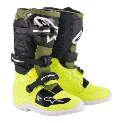 Bottes cross Alpinestars Tech 7S jaune fluo/vert militaire/noir