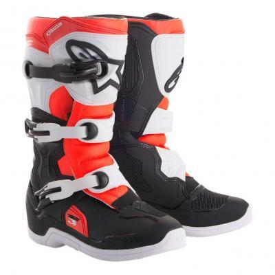 Bottes cross junior Alpinestars Tech 3S noir/blanc/rouge fluo