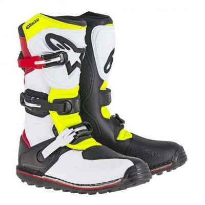 Bottes trial Alpinestars Tech T blanc/rouge/jaune fluo/noir