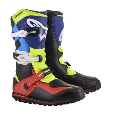 Bottes trial Alpinestars Tech T noir/rouge/bleu/jaune fluo