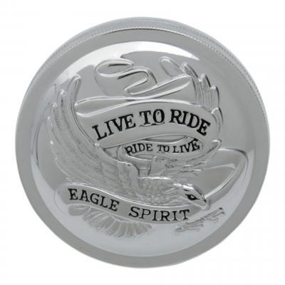 Bouchon de réservoir Drag Specialties ventilé Live to ride Harley Davidson 86-96 chrome