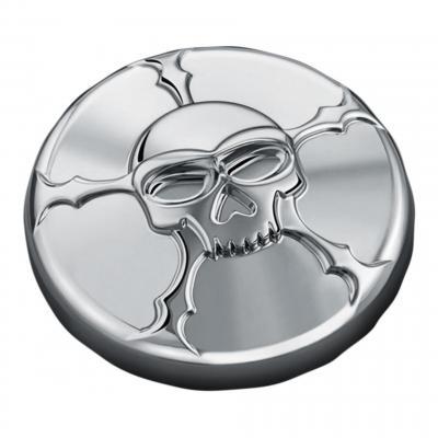 Bouchon de réservoir ventilé Kuryakyn déco 3D tête de mort chrome
