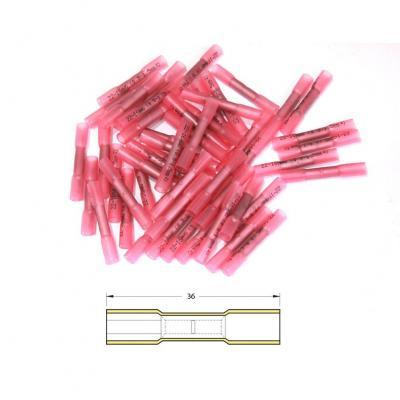 Bout à bout à sertir Bihr thermo-retractable Ø 0,5/1,5mm² rouge transparent (50 pièces)