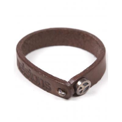 Bracelet cuir Helstons Peace argent/marron