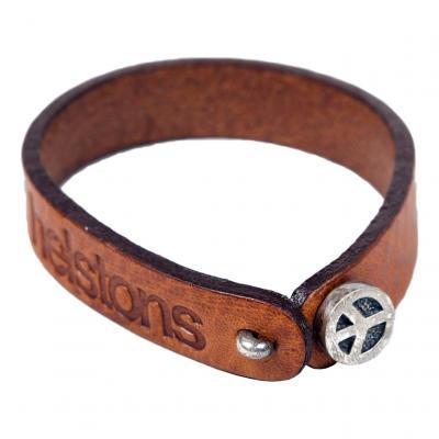 Bracelet cuir Helstons Peace argent/tan