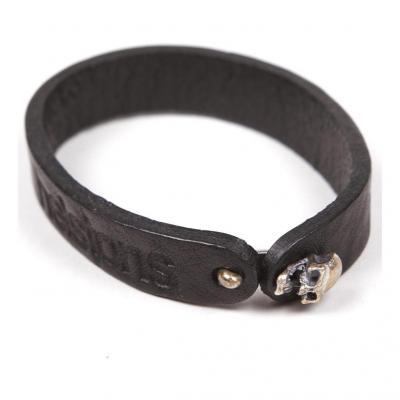 Bracelet cuir Helstons Skull argent/noir