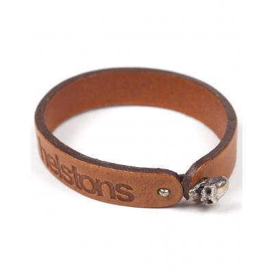 Bracelet cuir Helstons Skull argent/tan